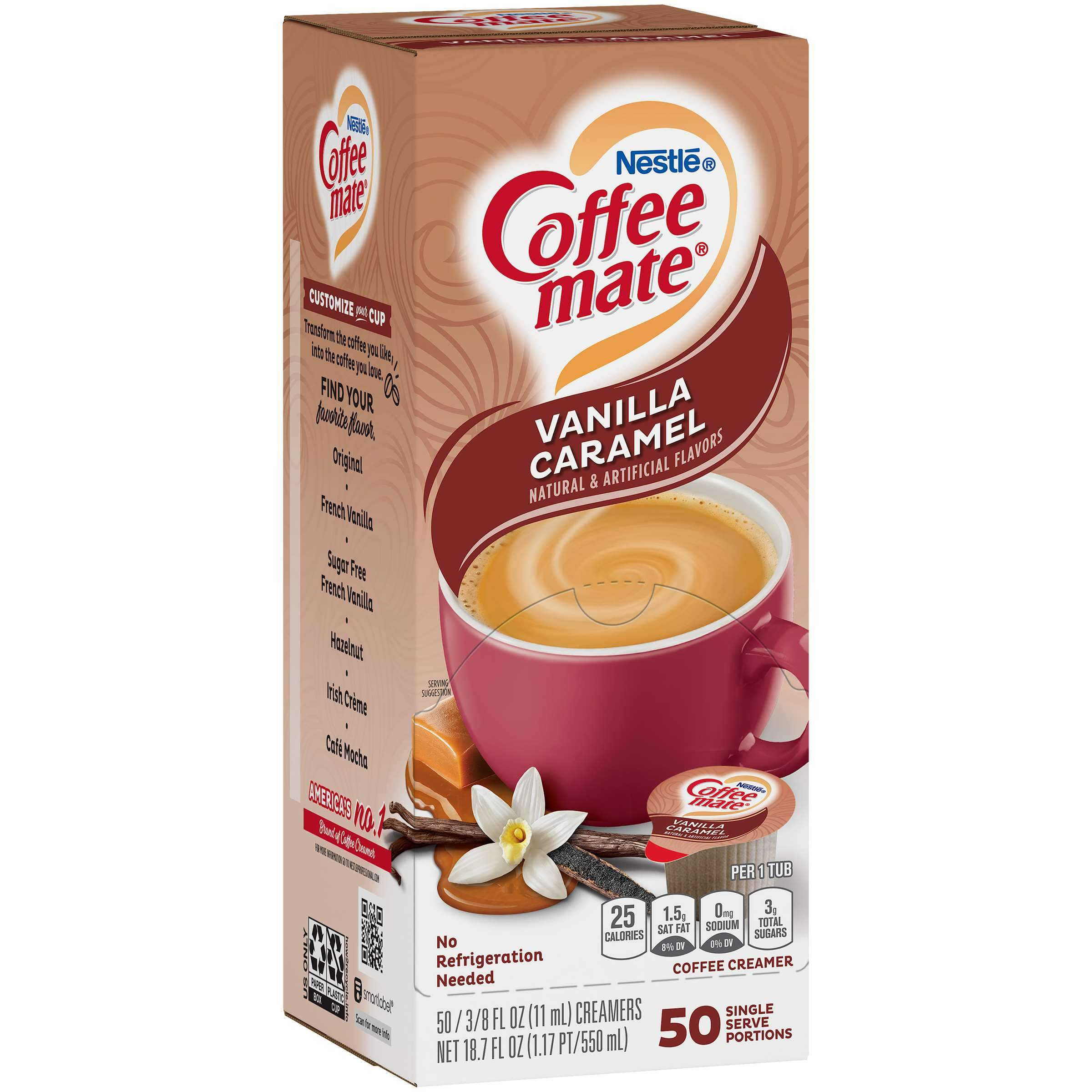 Coffee-Mate Single Serve Liquid Creamer Nestle Vanilla Caramel 50 Singles
