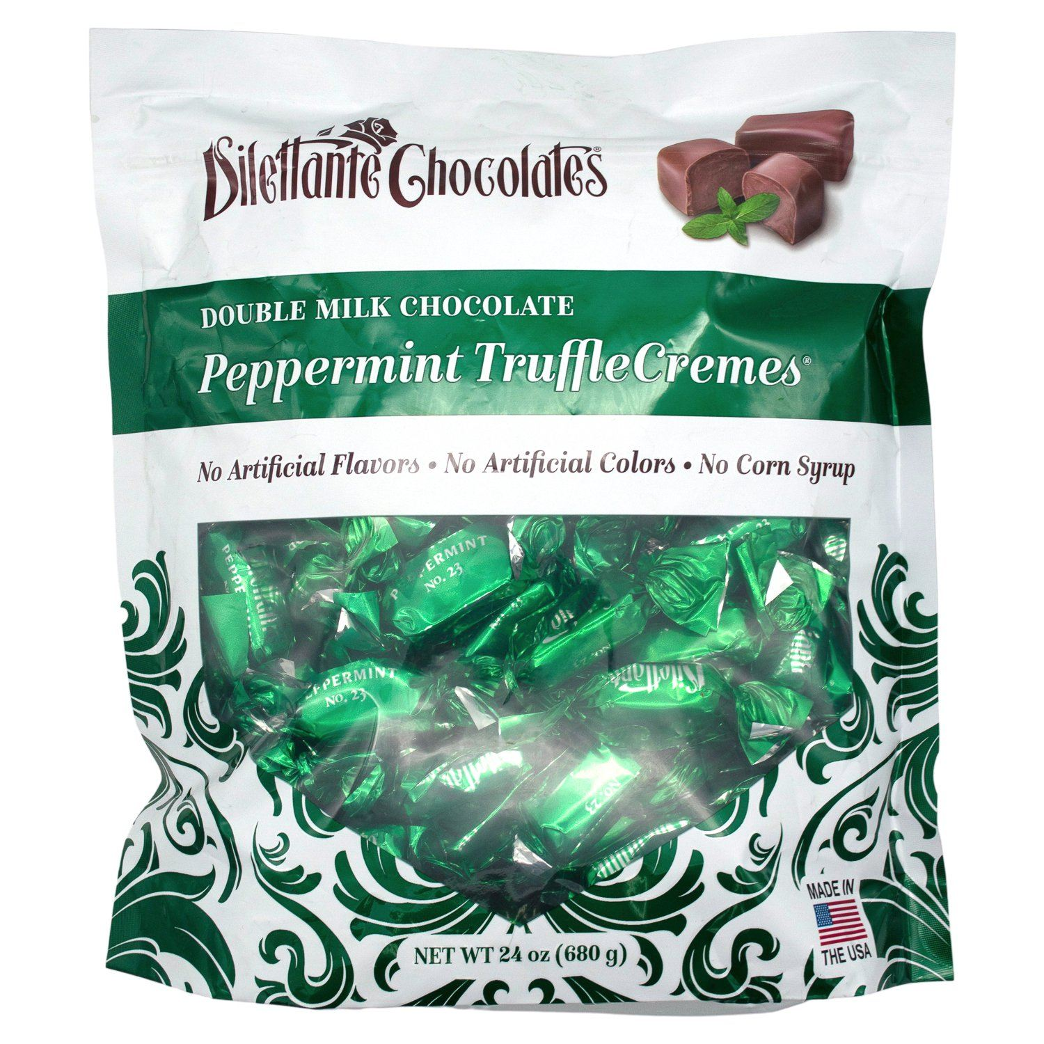 Dilettante Peppermint TruffleCremes in Milk Chocolate Meltable Dilettante 24 Ounce