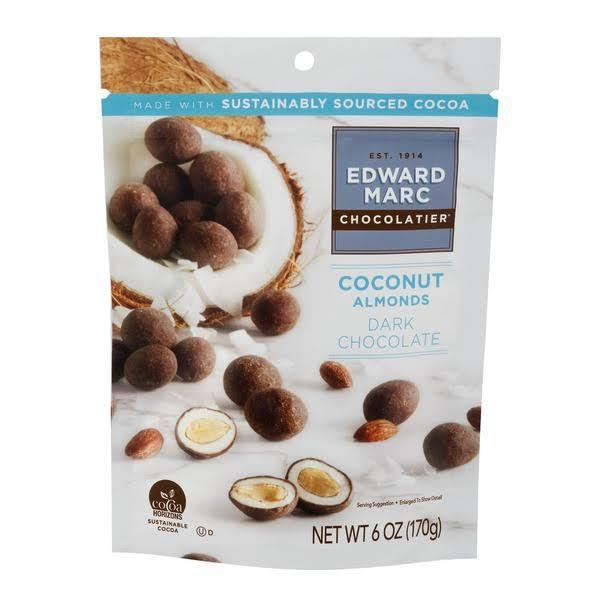 Edward Marc Chocolatier Almonds Edward Marc Chocolatier Coconut Almonds 6 Ounce