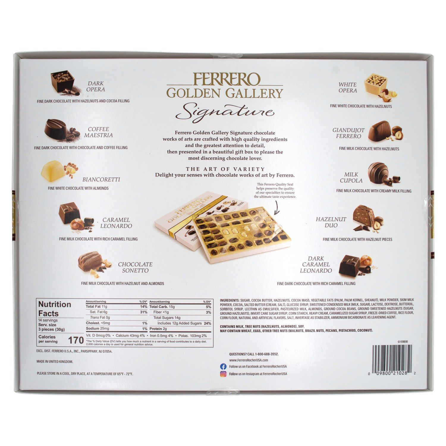Ferrerro Golden Gallery Signature Fine Assorted Chocolates Meltable Ferrero