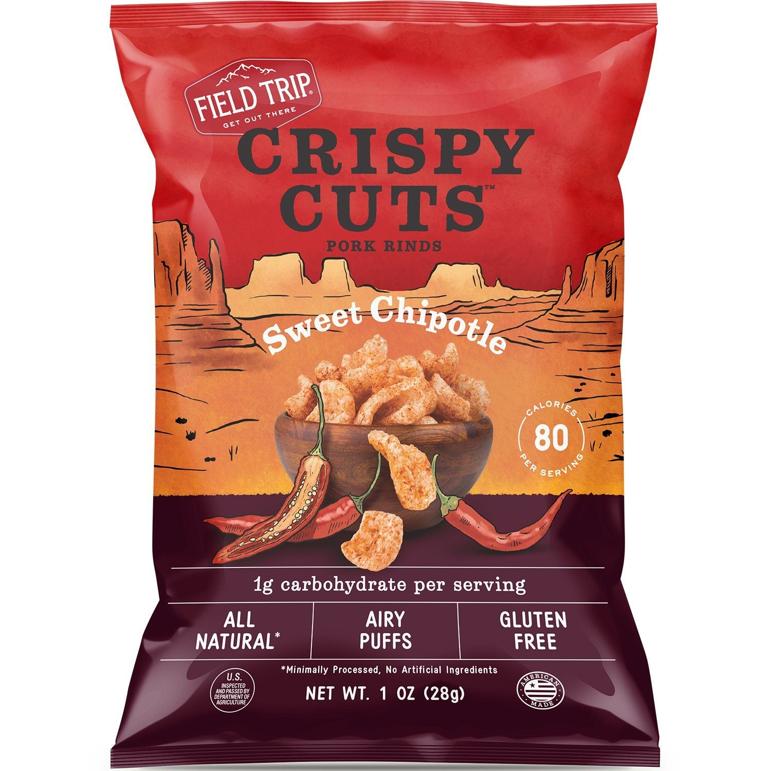 Field Trip Crispy Cuts Pork Rinds Field Trip Snacks Sweet Chipotle 1 Ounce