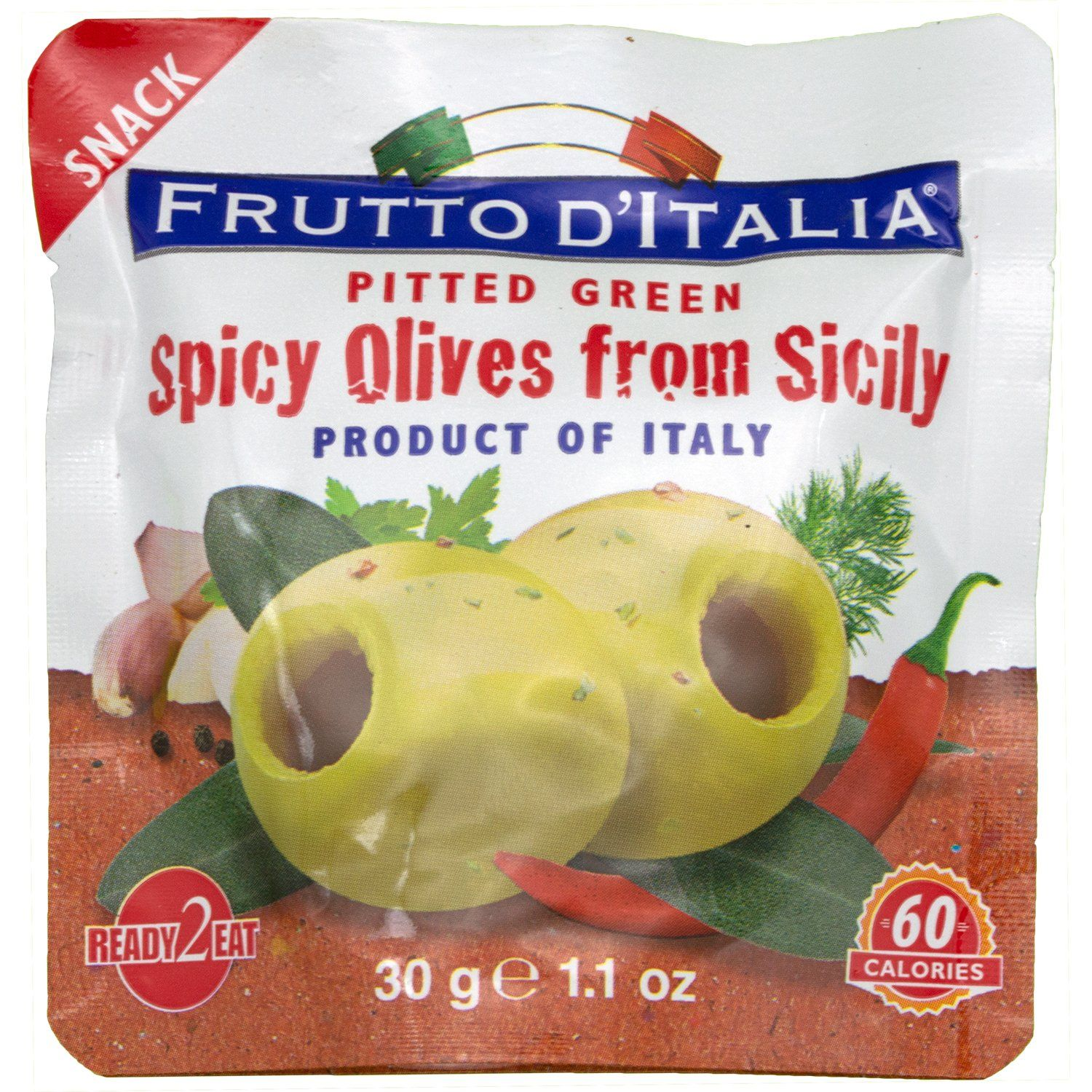 Frutto D'italia Snacking Olives Frutto D'italia Spicy Pitted Green 1.1 Ounce