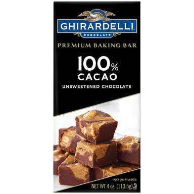 Ghirardelli Chocolate Baking Bars Meltable Ghirardelli 100% Cacao 4 Ounce