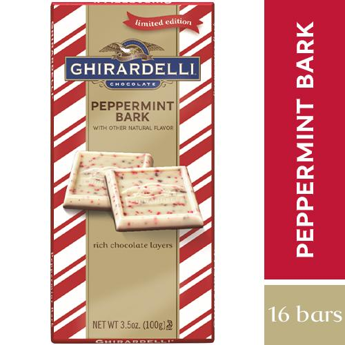 Ghirardelli Chocolate Bars Meltable Ghirardelli Peppermint Bark 3.5 Oz-16 Count