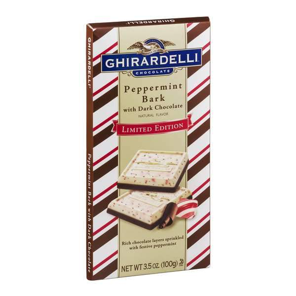 Ghirardelli Chocolate Bars Meltable Ghirardelli Peppermint Bark with Dark Chocolate 3.5 Ounce