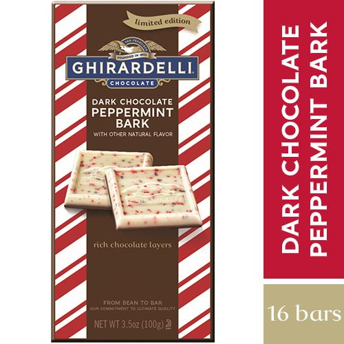 Ghirardelli Chocolate Bars Meltable Ghirardelli Peppermint Bark with Dark Chocolate 3.5 Oz-16 Count