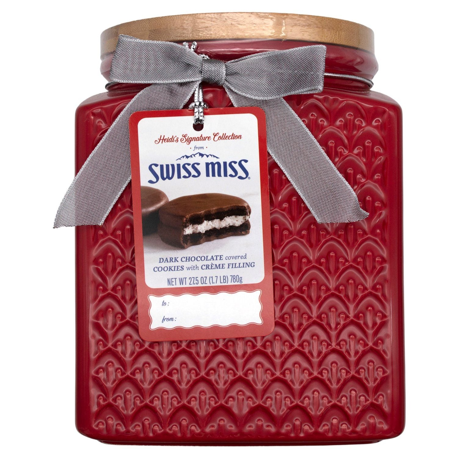 Heidi's Signature Collection, Dark Chocolate Covered Cookies With Creme Filling in Ceramic Jar Meltable Swiss Miss 27.5 Ounce