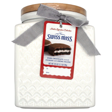 Heidi's Signature Collection, Dark Chocolate Covered Cookies With Creme Filling in Ceramic Jar Meltable Swiss Miss