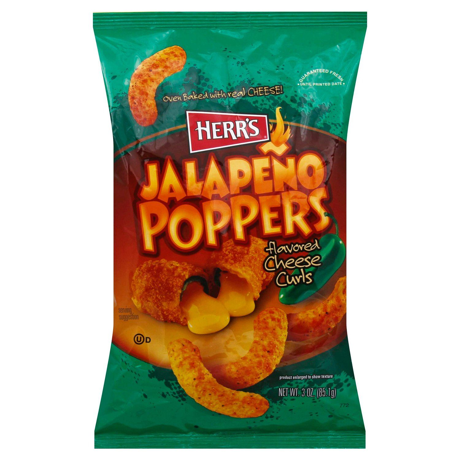 Herr's Flavored Cheese Curls Herr's Jalapeno Poppers 3 Ounce