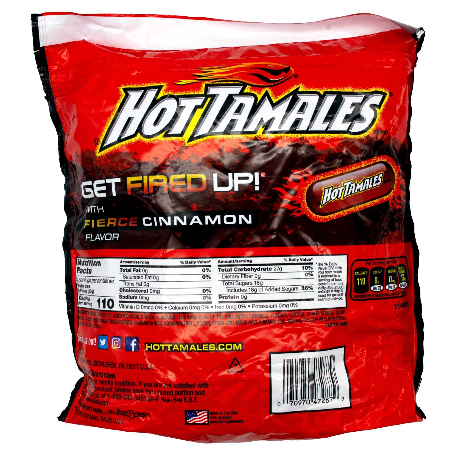 Hot Tamales Fierce Cinnamon Flavored Chewy Candies Hot Tamales