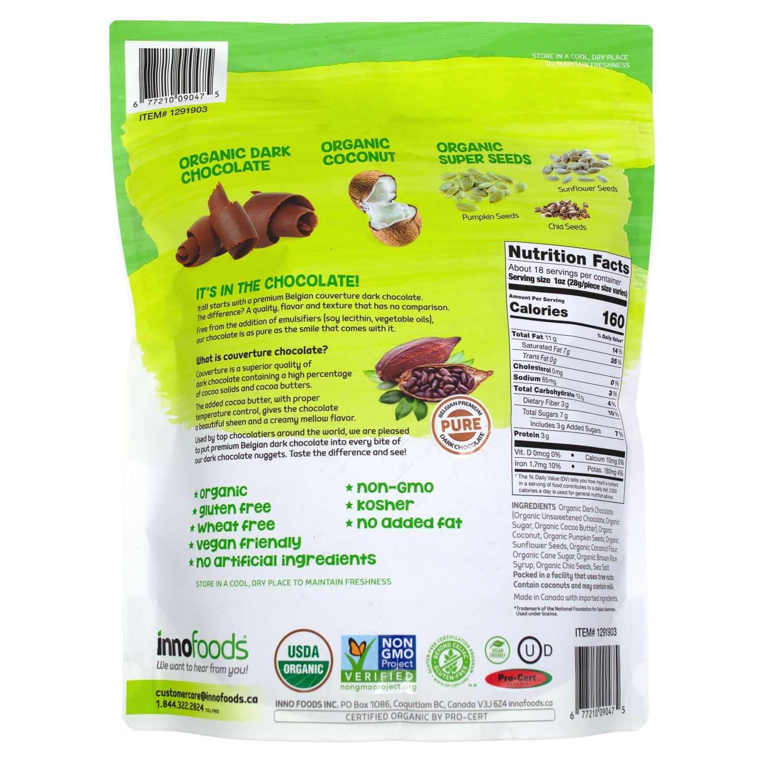 InnoFoods Organic Dark Chocolate Nuggets Meltable InnoFoods