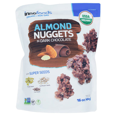 InnoFoods Organic Dark Chocolate Nuggets Meltable InnoFoods Almond 16 Ounce