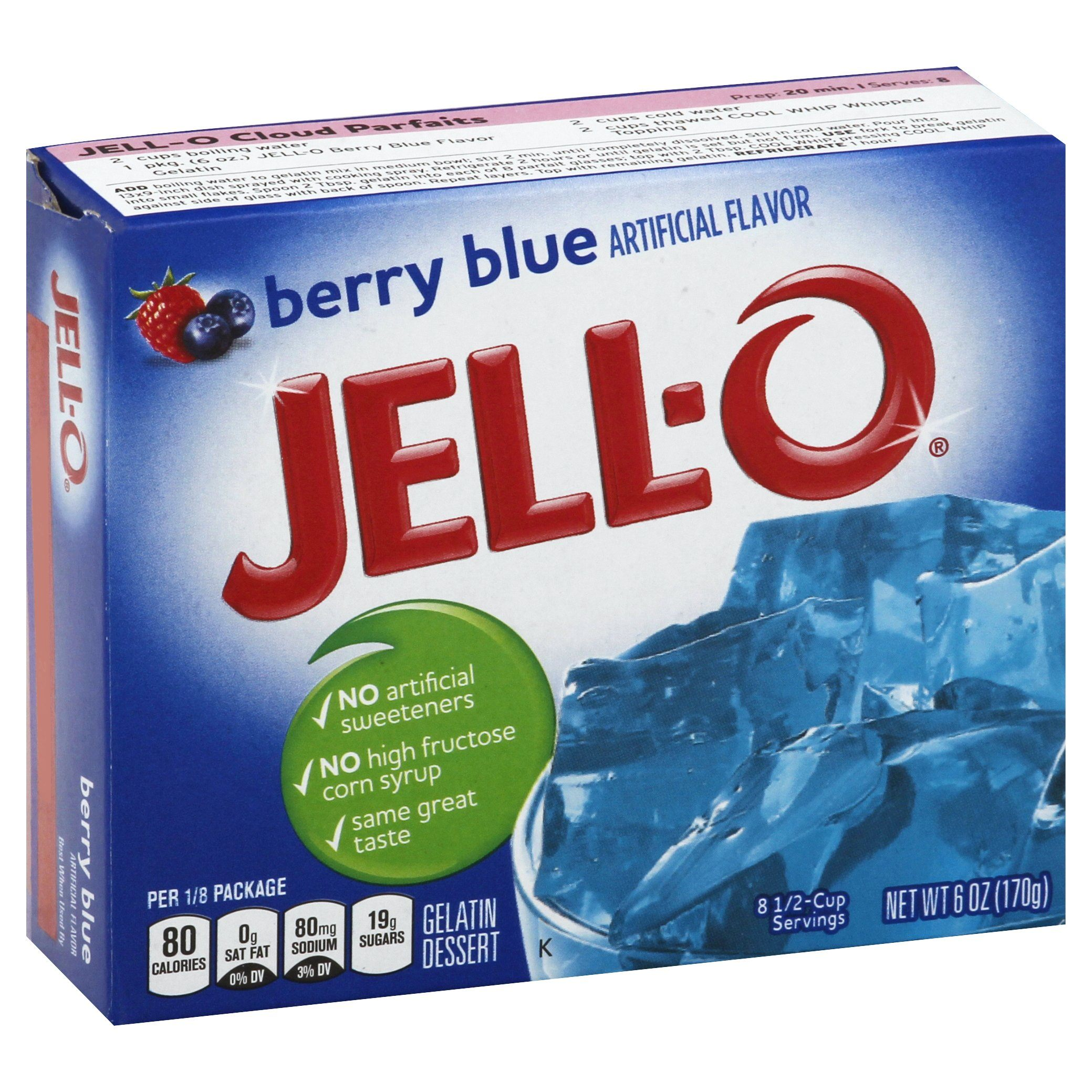 Jell-O Gelatin Mix Jell-O Berry Blue 6 Ounce