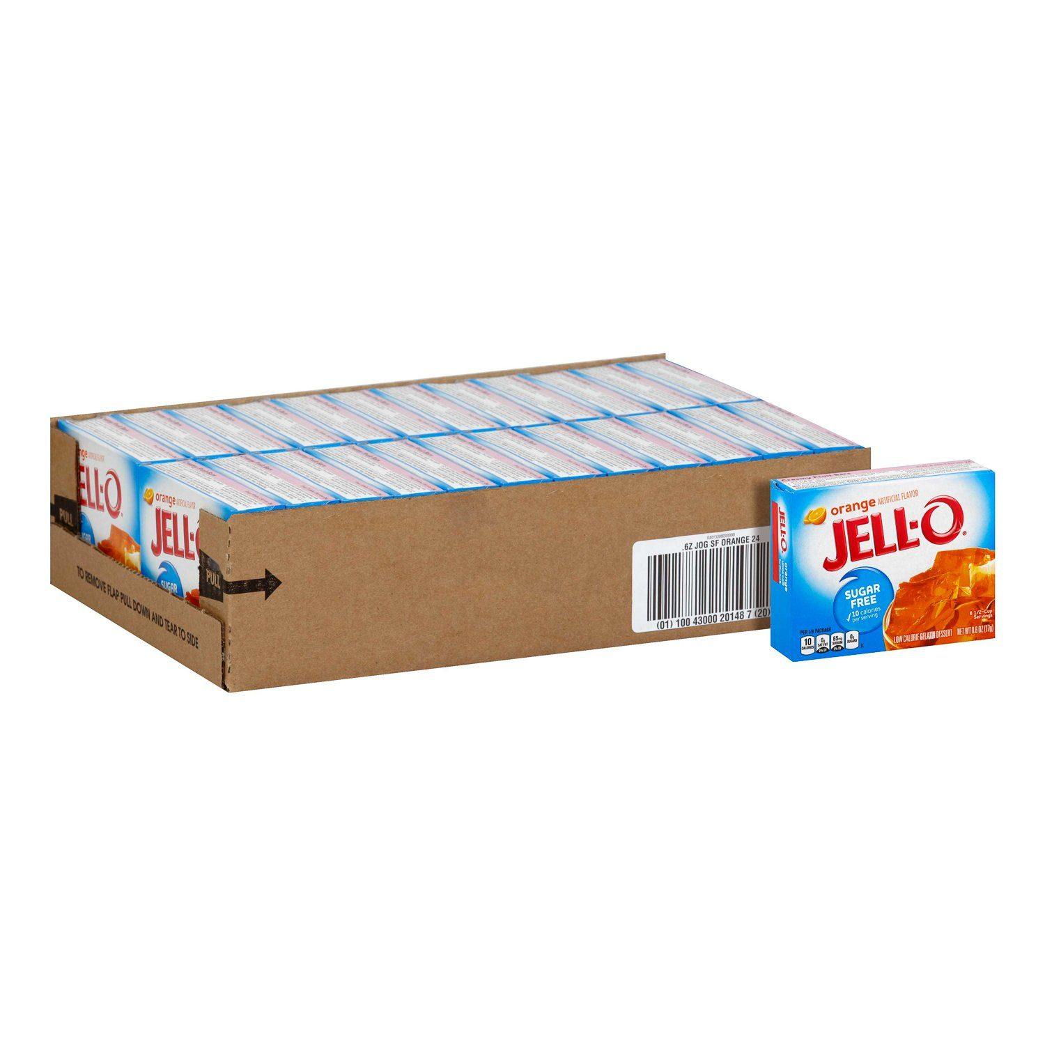 Jell-O Gelatin Mix Sugar Free Jell-O Sugar Free Orange 0.6 Oz-24 Count