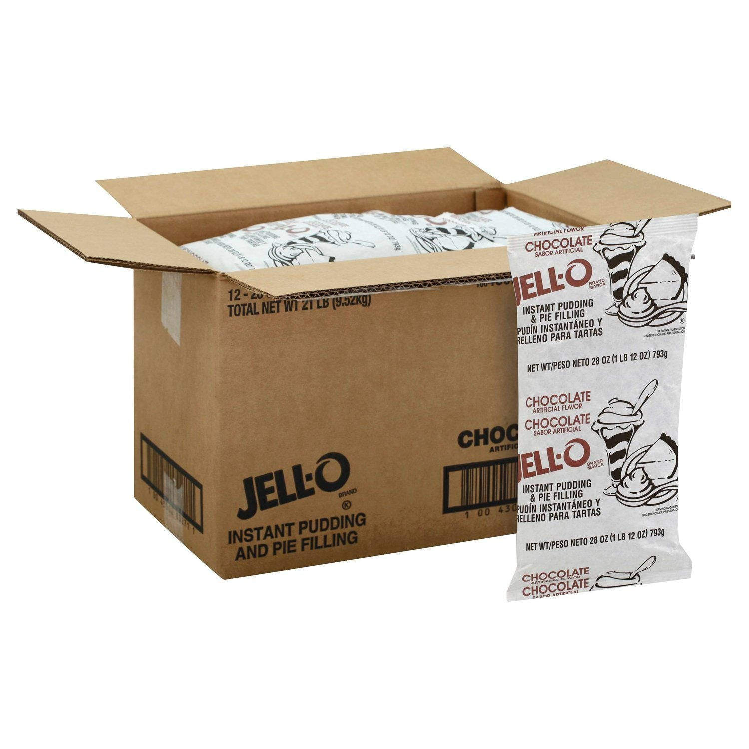 Jell-O Instant Pudding & Pie Filling Mixes Jell-O Chocolate 1.75 lb-12 Count