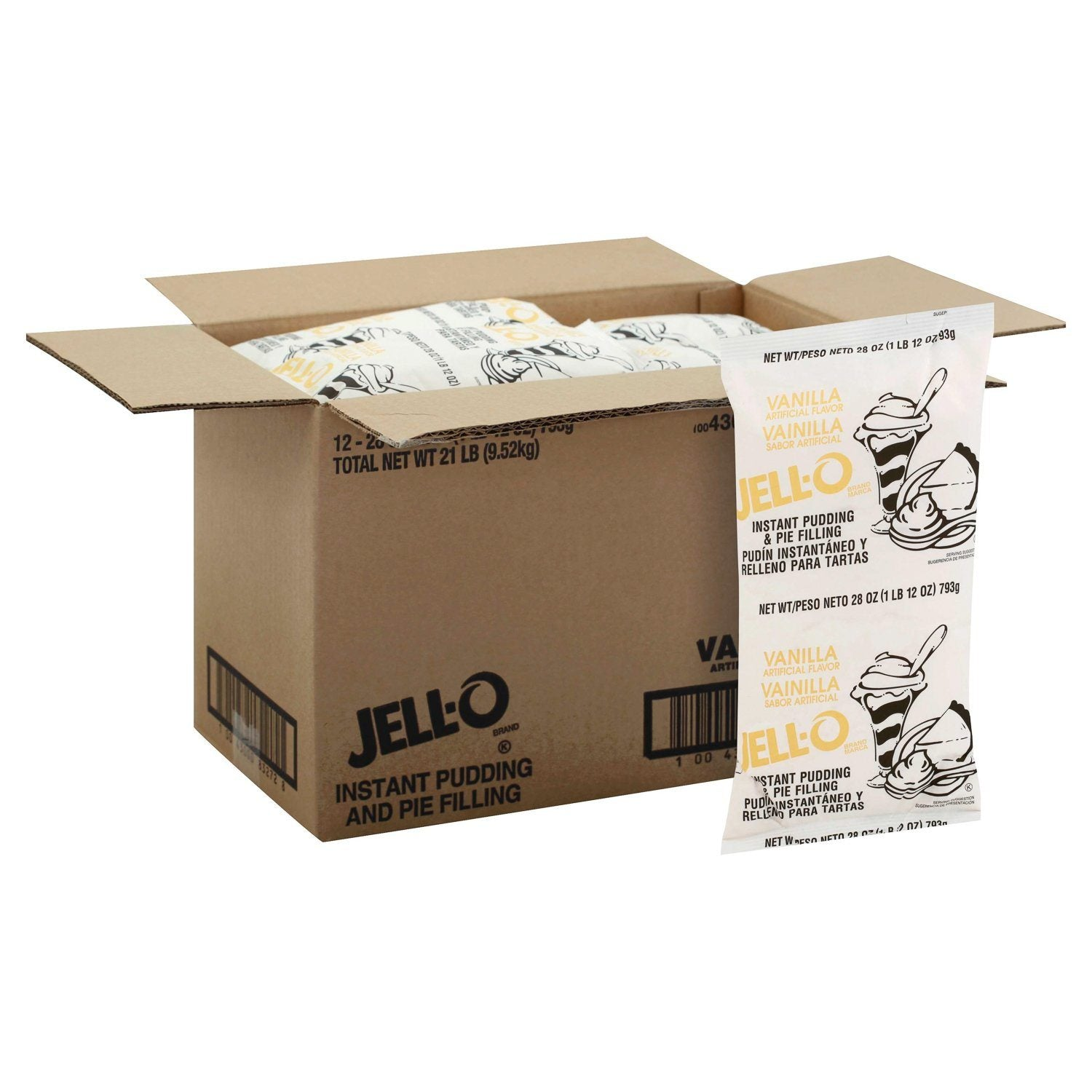 Jell-O Instant Pudding & Pie Filling Mixes Jell-O Vanilla 1.75 lb-12 Count