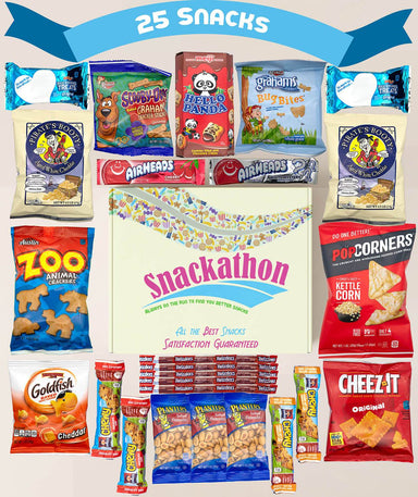 Kids Snacks Variety Mix Sampler, Birthday Fun or Portion-Controlled Snacking (25 Count) Snackathon Foods