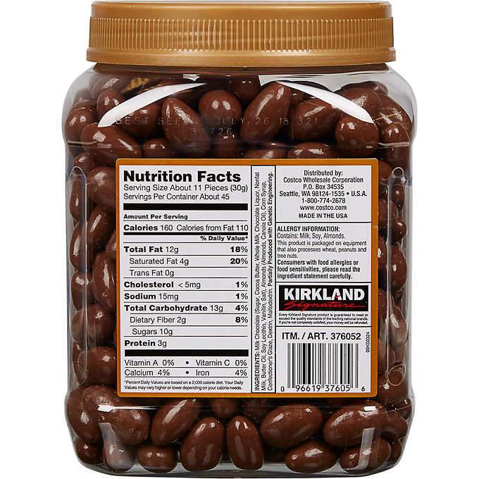 Kirkland Signature Almonds, Milk Chocolate, 3 Pound Kirkland Signature