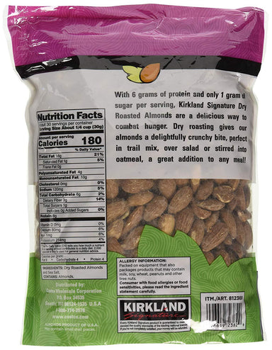 Kirkland Signature Dry Roasted Almonds Seasoned with Sea Salt, 2.5 lbs Kirkland Signature