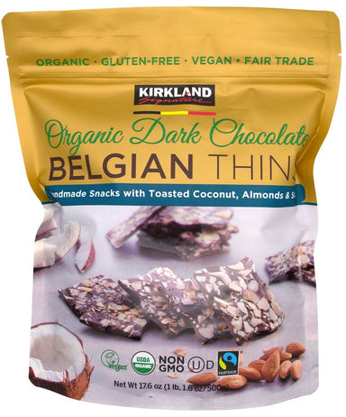 Kirkland Signature Organic Dark Chocolate Belgian Thins Kirkland Signature 17.6 Ounce