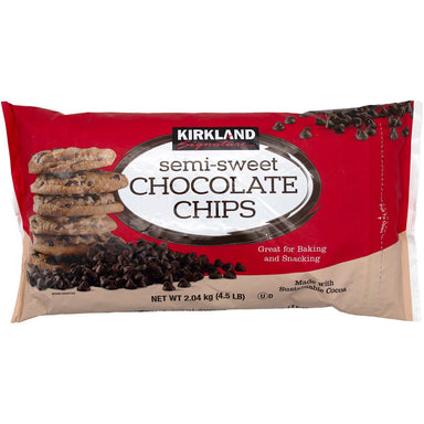 Kirkland Signature Semi-Sweet Chocolate Chips, 4.5 Pound Meltable Kirkland Signature