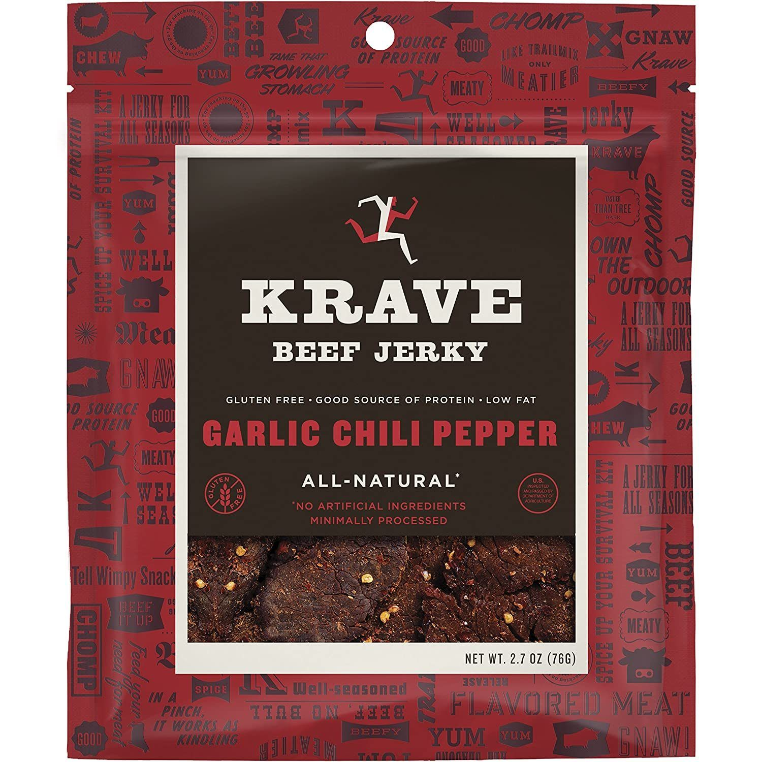 KRAVE Meat Cuts KRAVE Garlic Chili Pepper Beef Cuts 2.7 Ounce