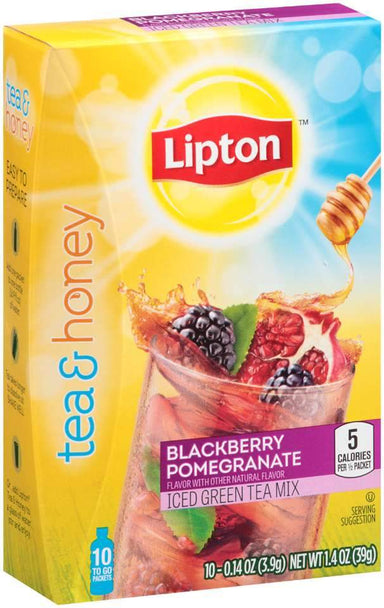 Lipton Iced Green Tea Mix To-Go Packets Lipton Blackberry Pomegranate 0.14 Oz-10 Count