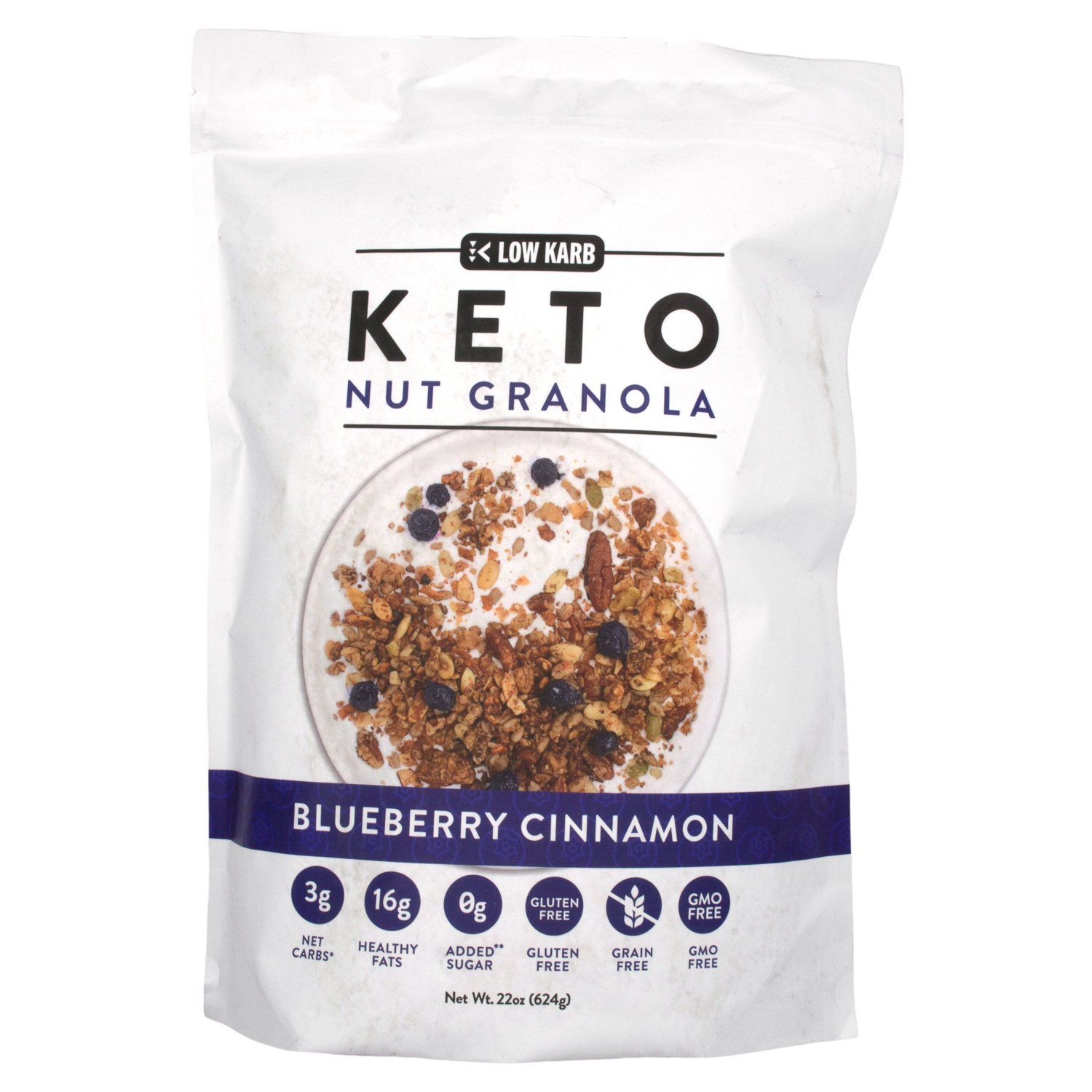 Low Karb Keto Nut Granola Low Karb Blueberry Cinnamon 22 Ounce