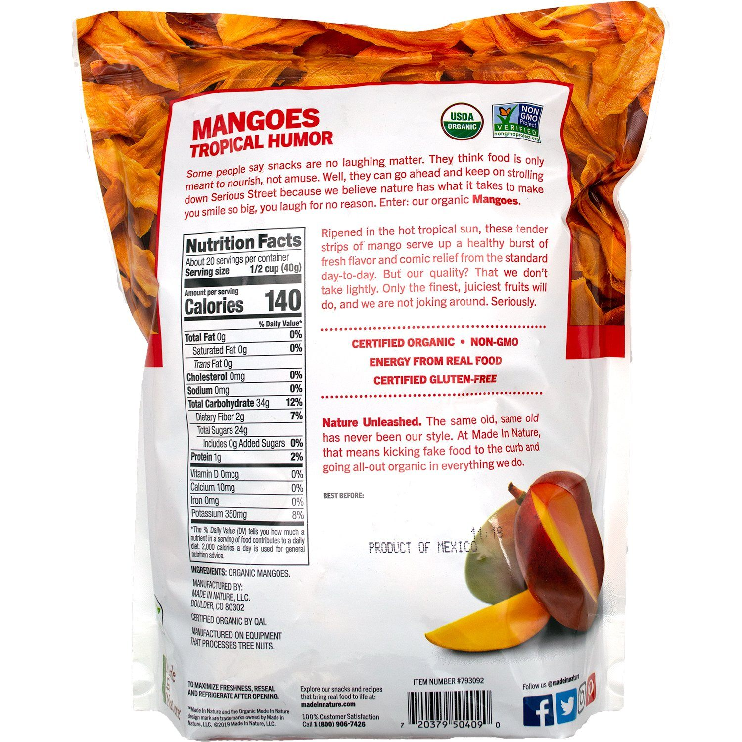 Made In Nature Organic Dried Mangoes Made In Nature
