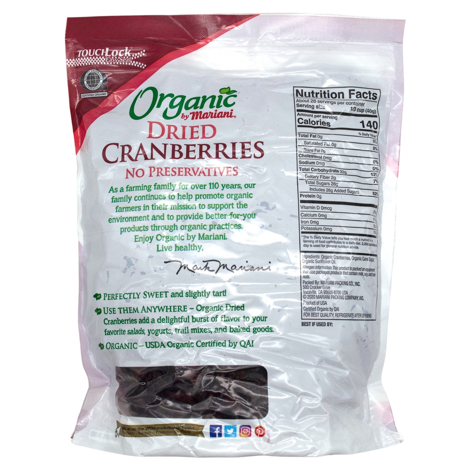 Mariani Organic Dried Cranberries Mariani