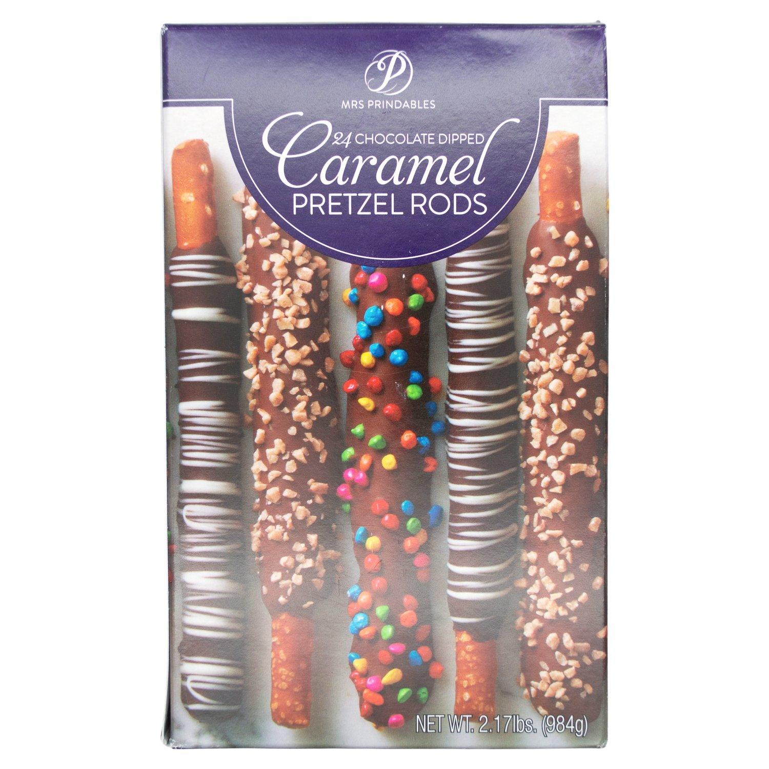 Mrs Prindables Chocolate and Caramel Dipped Pretzels Rods Meltable Mrs Prindables Variety 24 Rods-2.17 Pound