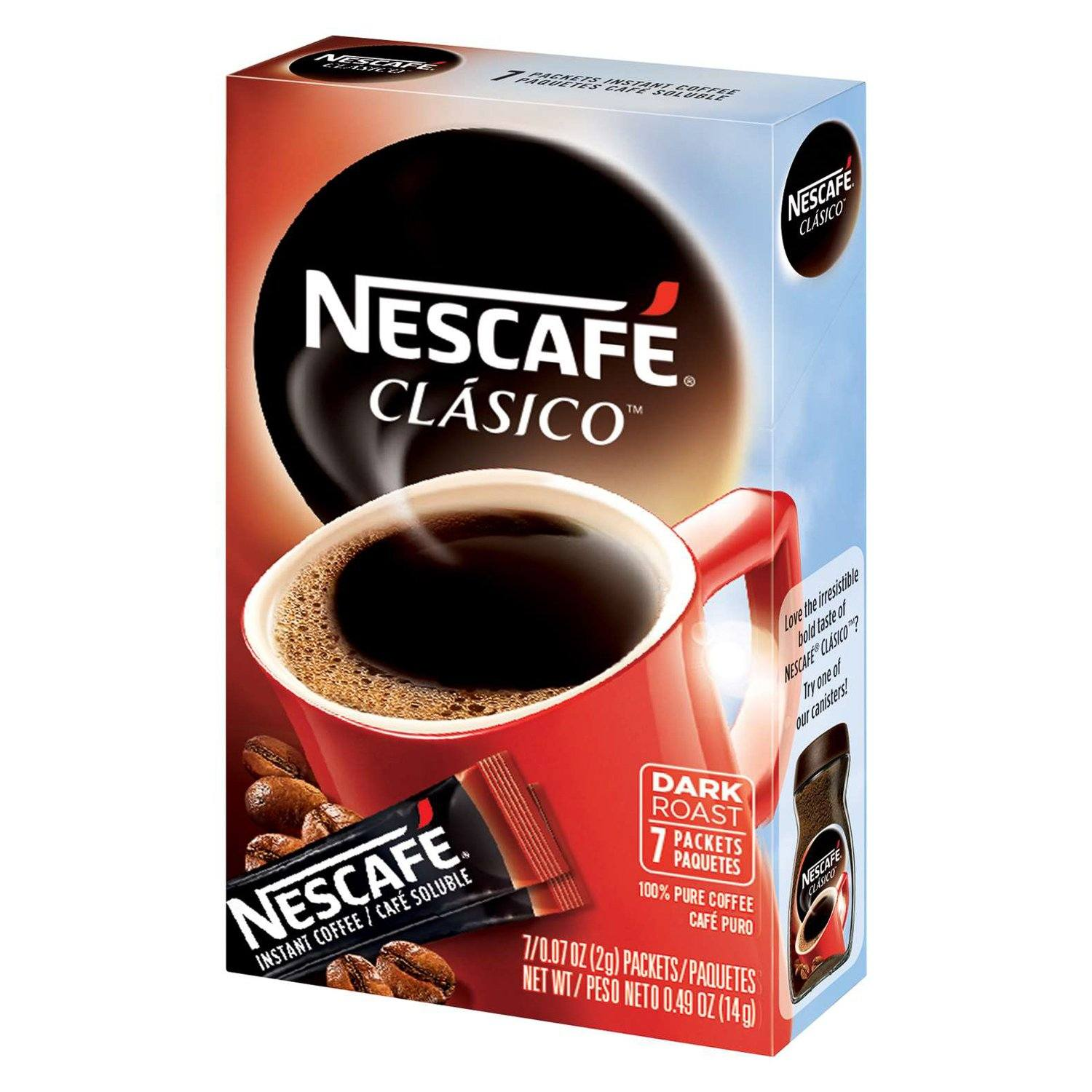 NESCAFÉ CLASICO Instant Coffee NESCAFÉ Dark Roast 0.07 Oz-7 Count