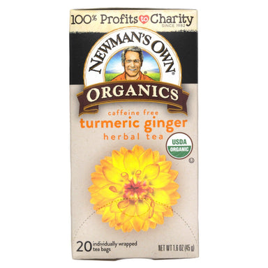 Newman's Own Organic Tea Snackathon Foods Turmeric Ginger 20 Count