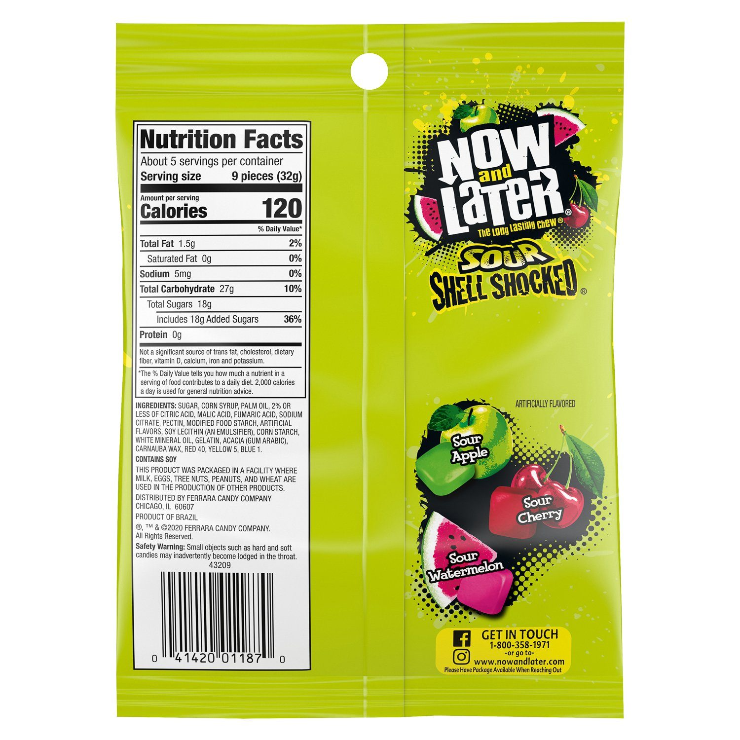 Now & Later Shell Shocked Fruit Chewy Bites Candy Now & Later