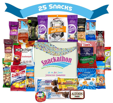 Nuts, Meat, Protein and Snacks, Gift, Care Package, 25 Count Snackathon Foods