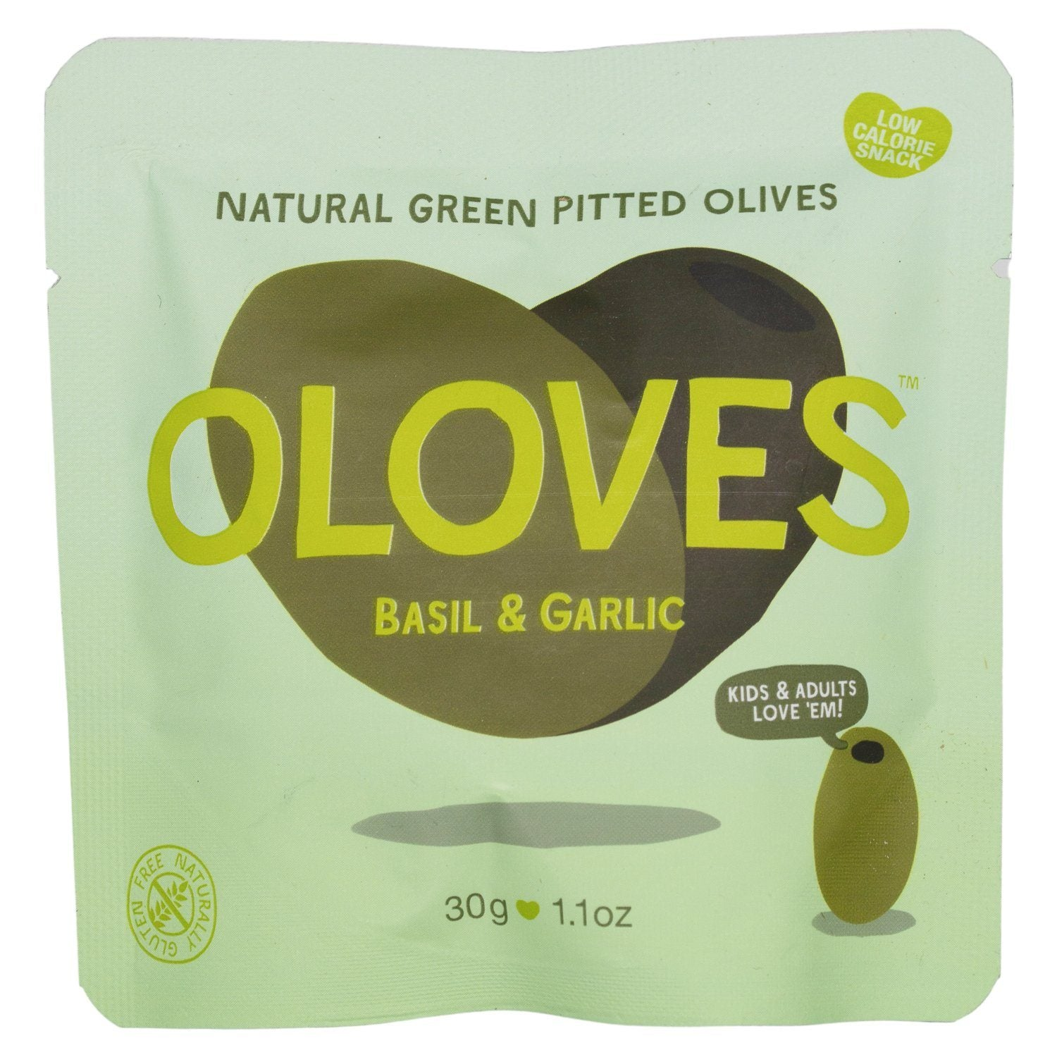 OLOVES Natural Whole Pitted Olives Elma Farms Basil & Garlic 1.1 Ounce