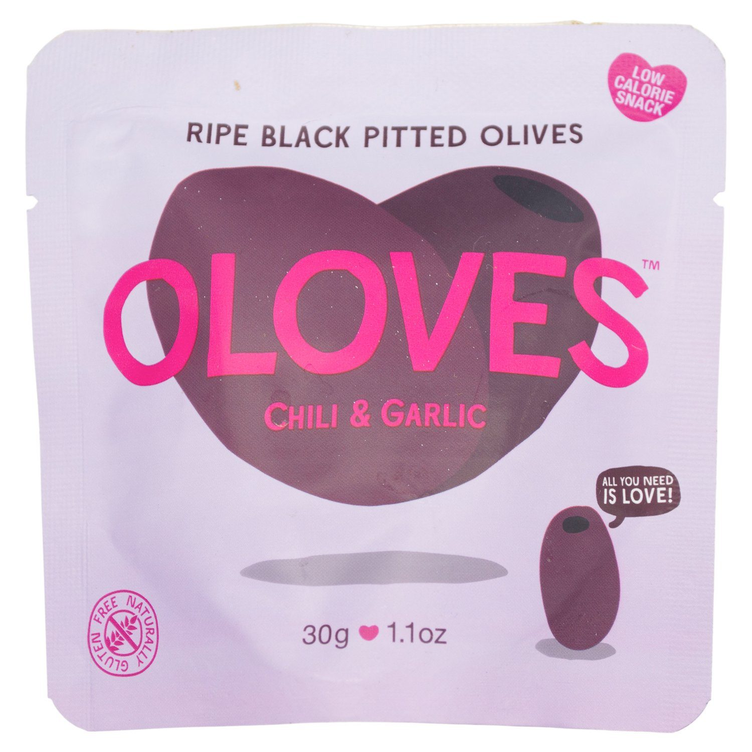 OLOVES Natural Whole Pitted Olives Elma Farms Chili & Garlic 1.1 Ounce