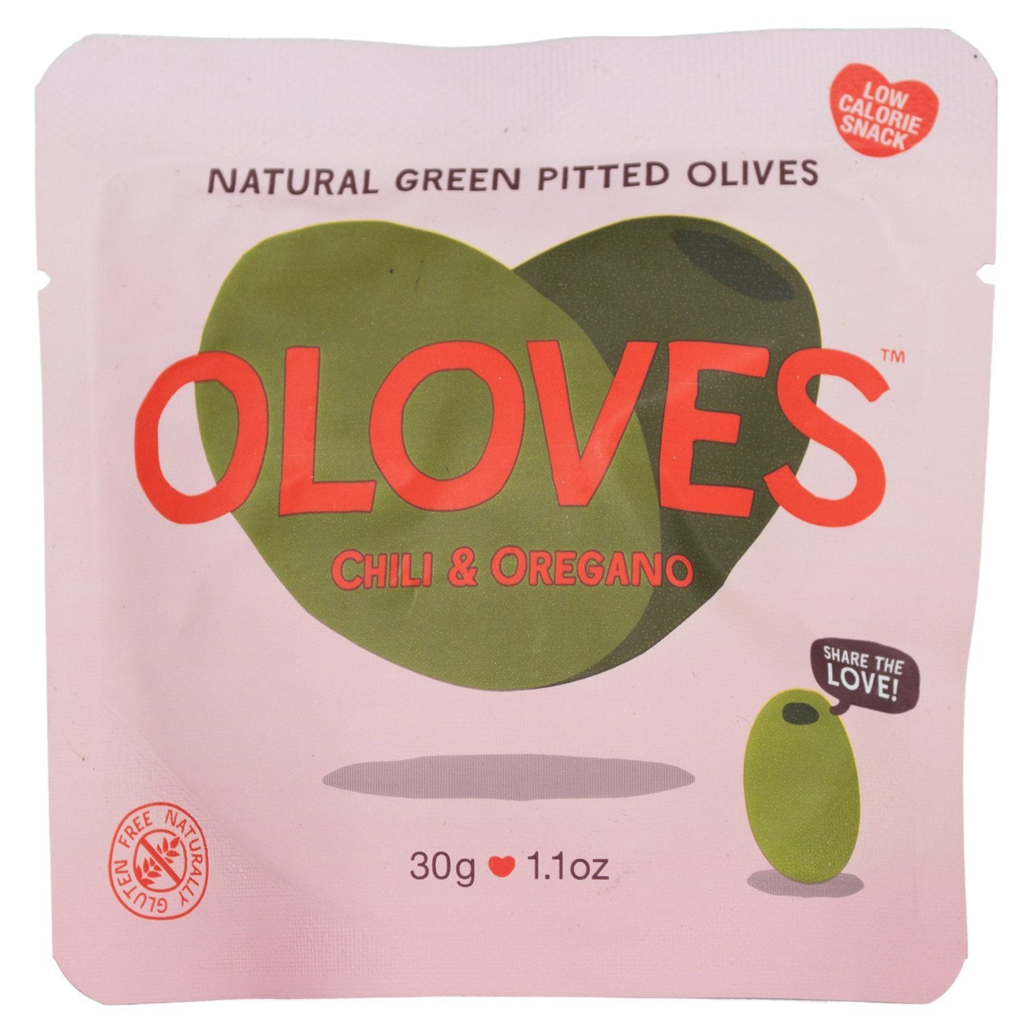 OLOVES Natural Whole Pitted Olives Elma Farms Chili & Oregano 1.1 Ounce