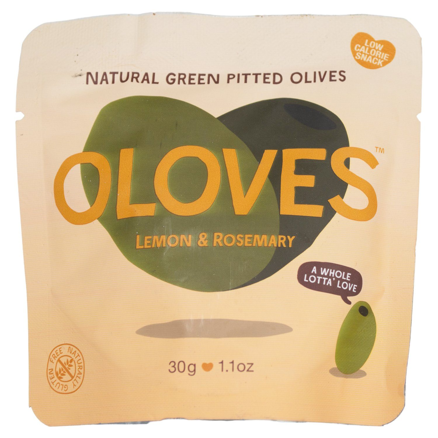 OLOVES Natural Whole Pitted Olives Elma Farms Lemon & Rosemary 1.1 Ounce