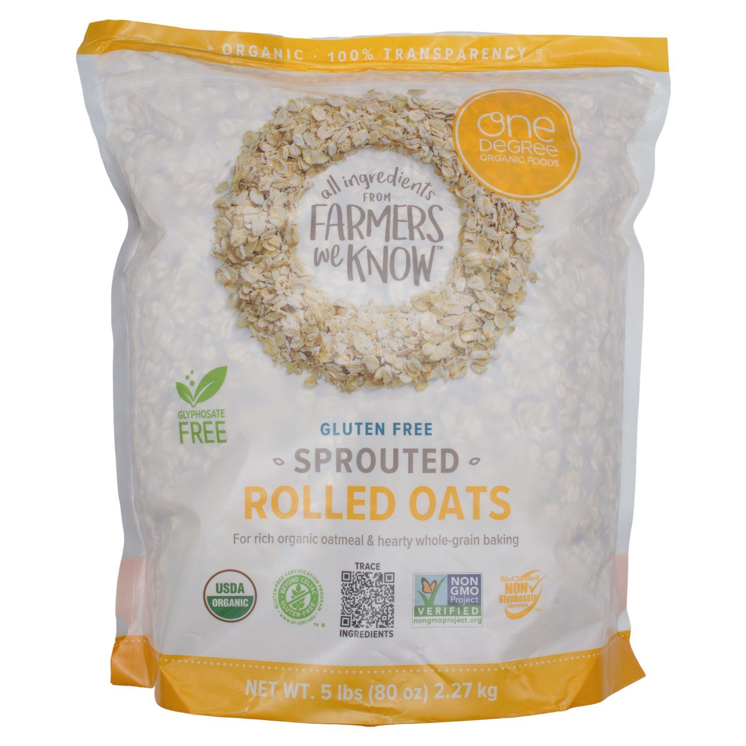 One Degree Organic Sprouted Rolled Oats One Degree Organic Foods 80 Ounce