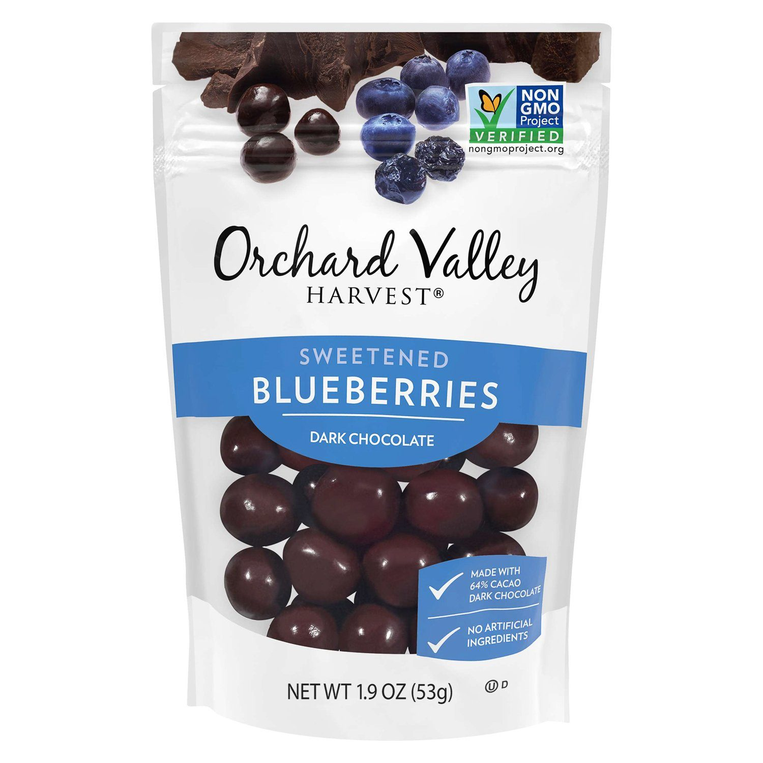 Orchard Valley Harvest Chocolate Covered Meltable Orchard Valley Harvest Dark Chocolate Blueberries 1.9 Ounce