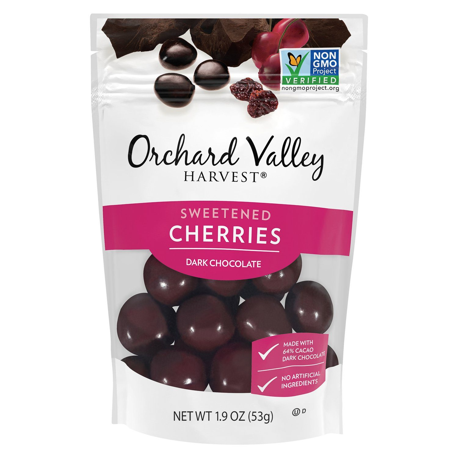 Orchard Valley Harvest Chocolate Covered Meltable Orchard Valley Harvest Dark Chocolate Cherries 1.9 Ounce