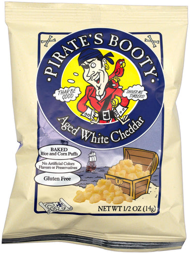 Pirate's Booty Snack Puffs, Aged White Cheddar, 0.5 Ounce Pirate's Booty