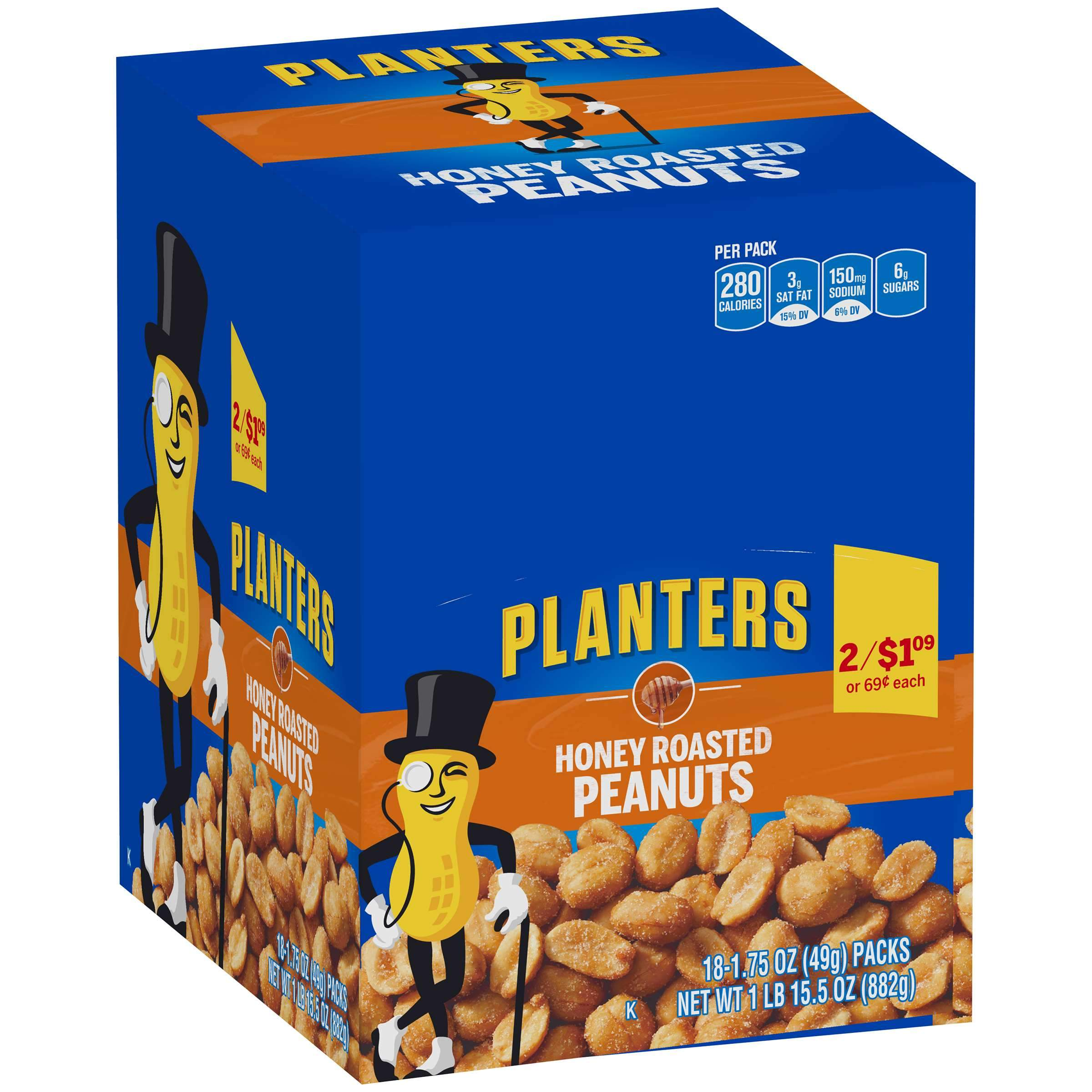 Planters Peanuts Planters Honey Roasted 1.75 Oz-18 Count