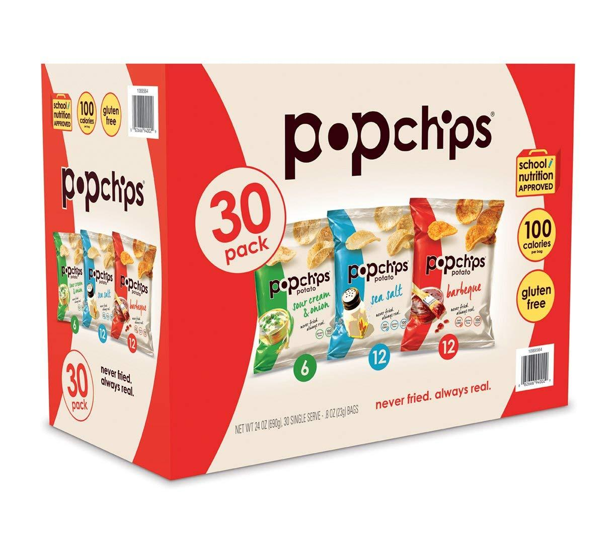 Popchips Potato Chips Popchips Variety 0.8 Oz-30 Ct