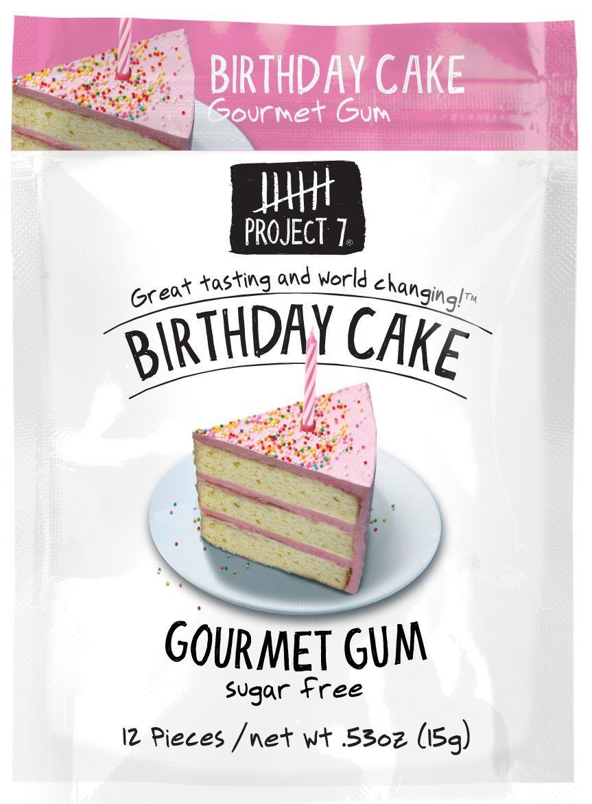 Project 7 Gourmet Gum Sugar Free Snackathon Foods Birthday Cake 0.53 Ounce