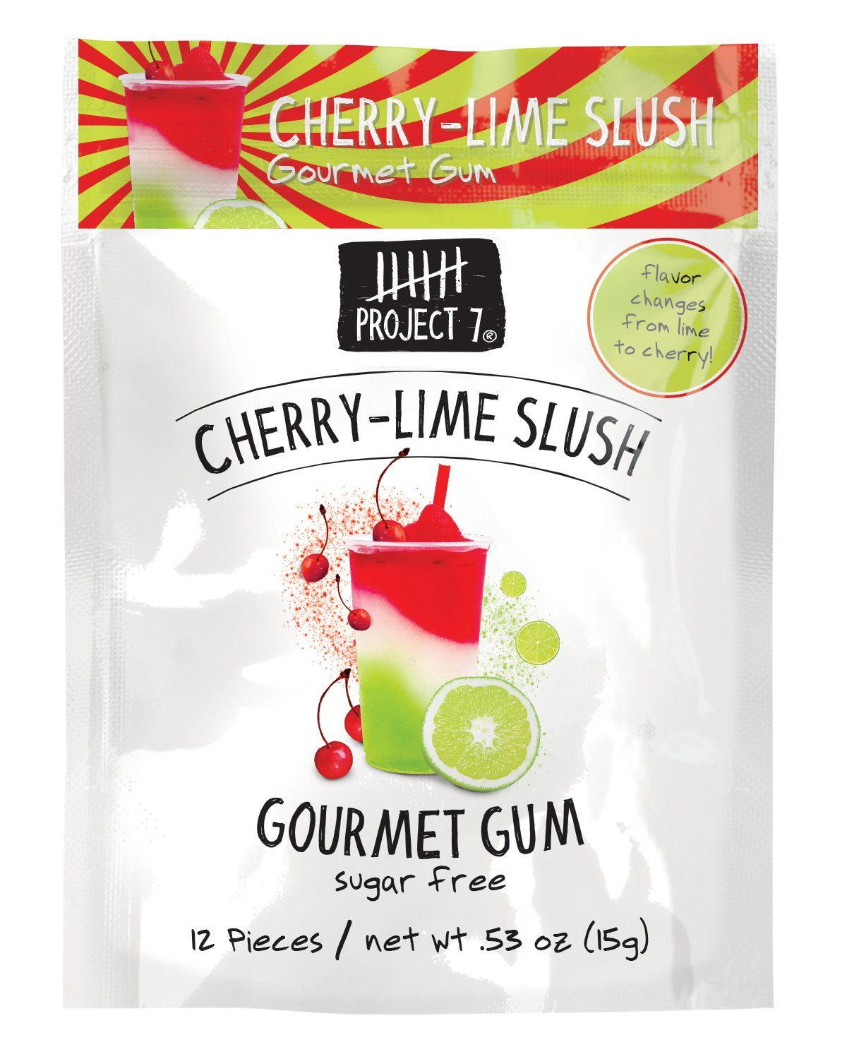 Project 7 Gourmet Gum Sugar Free Snackathon Foods Cherry-Lime Slush 0.53 Ounce