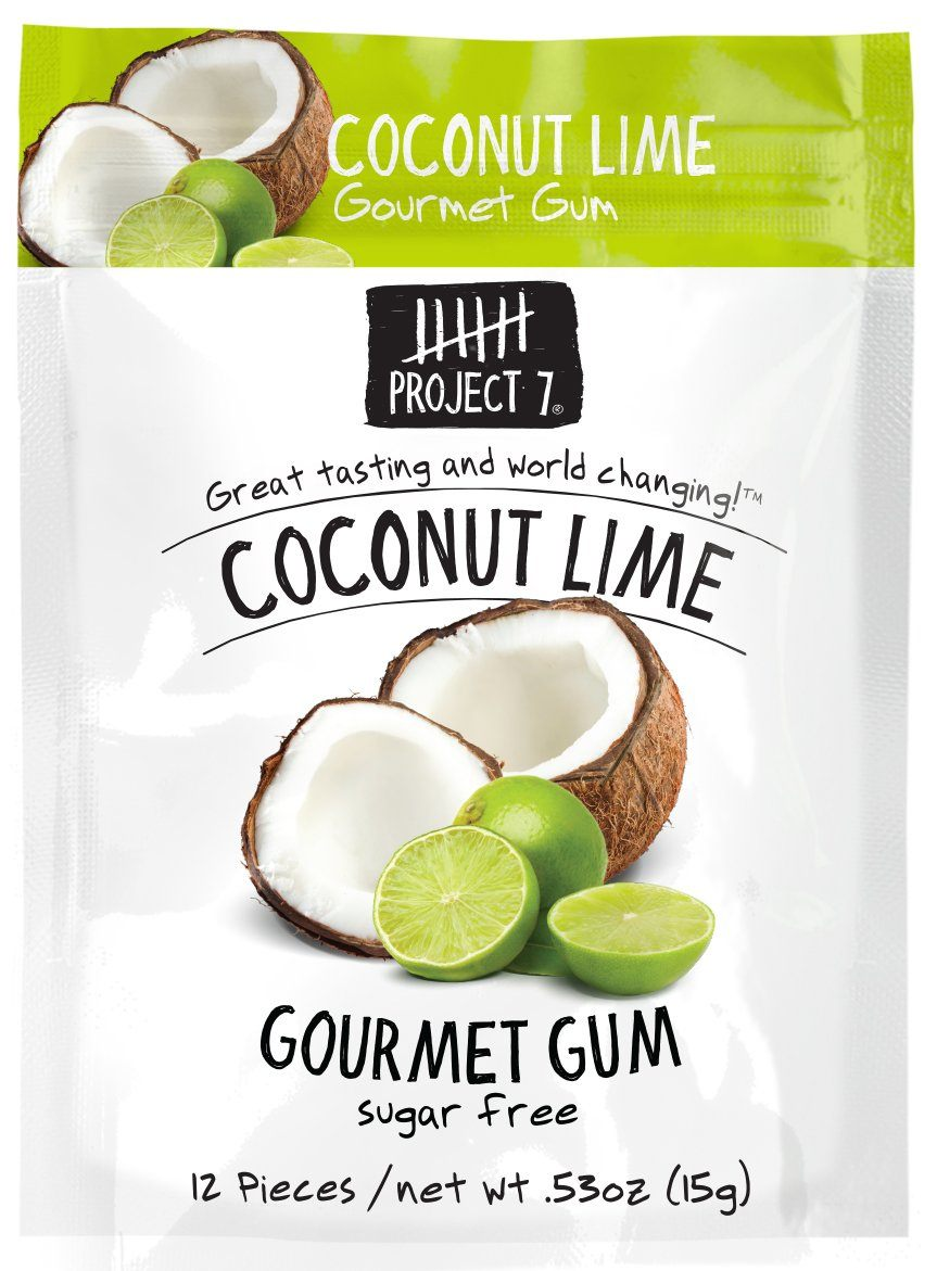 Project 7 Gourmet Gum Sugar Free Snackathon Foods Coconut Lime 0.53 Ounce
