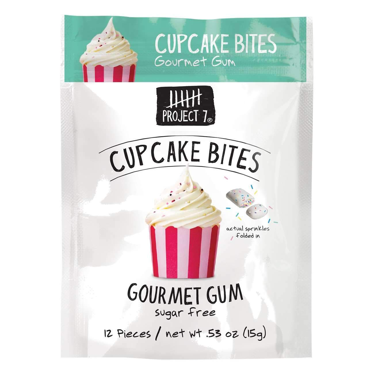 Project 7 Gourmet Gum Sugar Free Snackathon Foods Cupcake Bites 0.53 Ounce