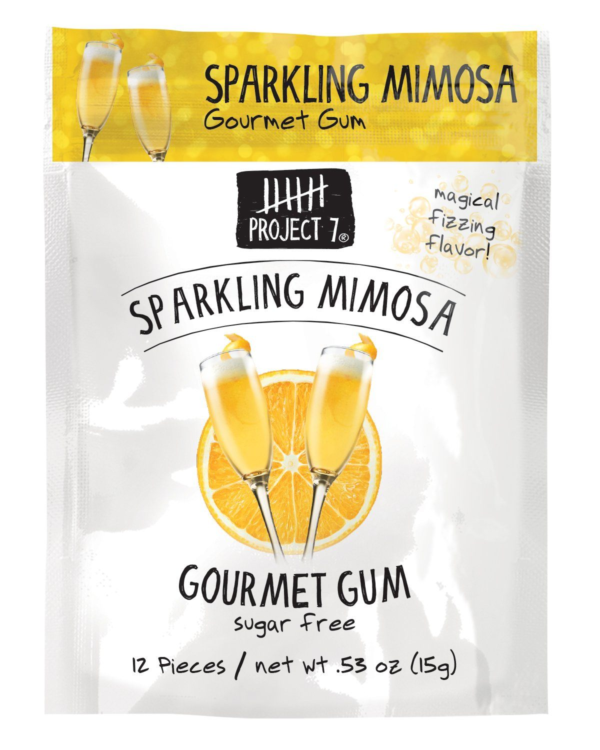Project 7 Gourmet Gum Sugar Free Snackathon Foods Sparkling Mimosa 0.53 Ounce